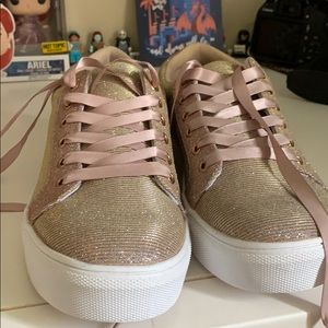 Rose Gold Glitter JustFab Sneakers